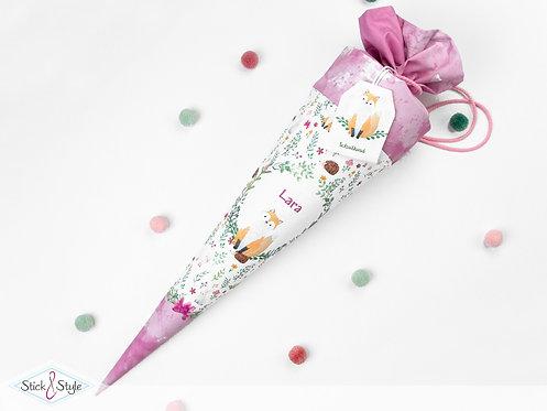 Schultüte Fuchs Pink aus Stoff mit Name personalisierbar, ab