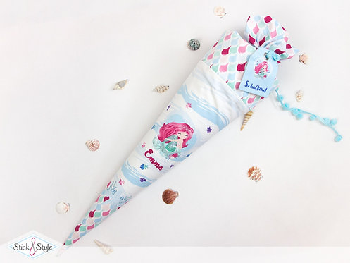 Schultüte Meerjungfrau Pink aus Stoff mit Name personalisierbar, ab