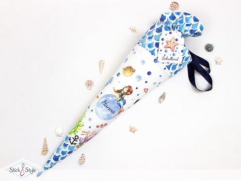 Schultüte Meerjungfrau Blau aus Stoff mit Name personalisierbar, ab