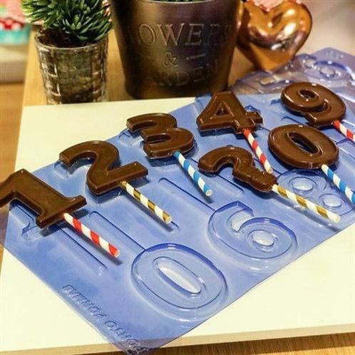Forma Acetato Vela Chocolate Números