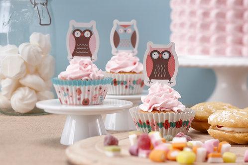"Conjunto para Cupcakes ""Patchwork Owl"""