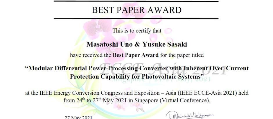 ECCE-Asia 2021でBest Paper Awardを受賞しました Best Paper Award in ECCE-Asia 2021, Singapore