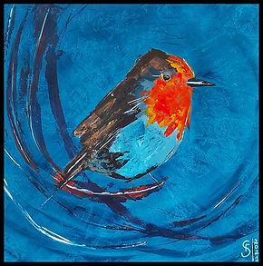 Peinture Acrylique Oiseau Bird Rouge-gorge