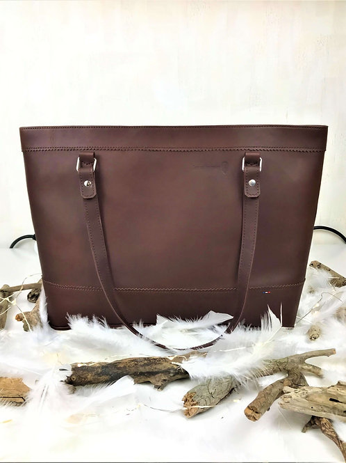 sac cabas en cuir marron fait main