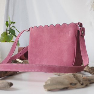 sac en cuir rose made in France Deux petites mains