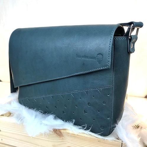 sac en cuir gris bleu fait main
