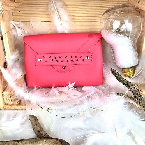 pochette mini-sac en cuir fait main rouge