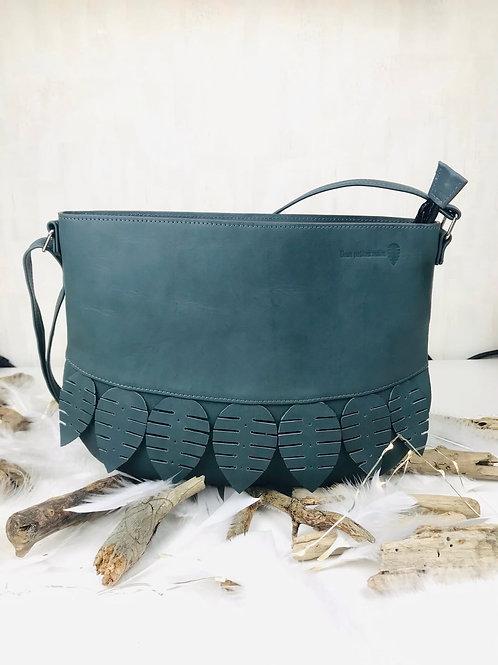 sac en cuir besace gris bleu fait main