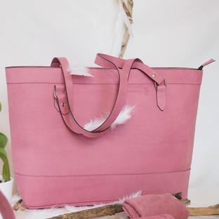sac cabas en cuir rose Deux petites mains