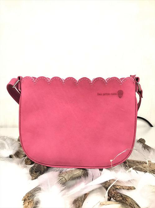 sac en cuir rose fait main