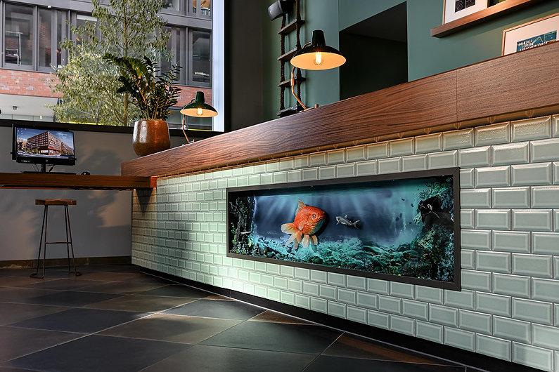 Hotelfotografie-Interieurfotografie Rezeption im Designhotel Pierdrei Hafencity Hamburg