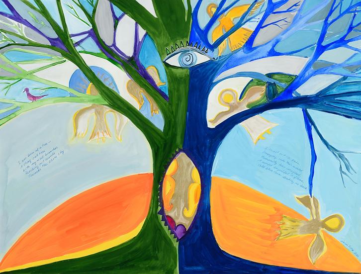 Kosminis medis, 2020, guašas, 70 x 88