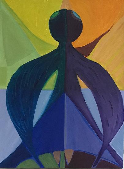 Bird Woman in Flight, 40 x 60