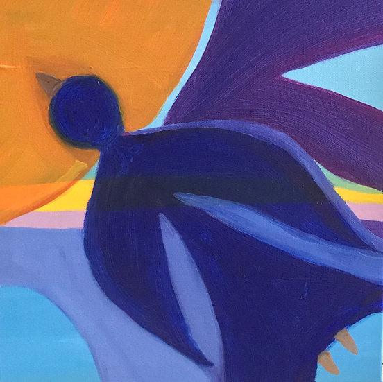 Bird Woman and the Orange Sun, 40 x 40