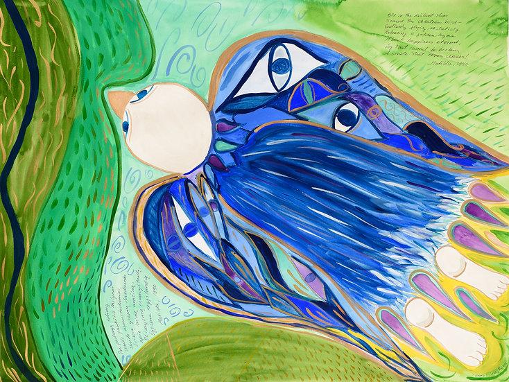 Mėlynas paukštis, 2020, guašas, 70 x 88
