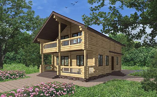 Проект дома, до 150 кв метров, деревянный дом, материал оцилиндрованное бревно