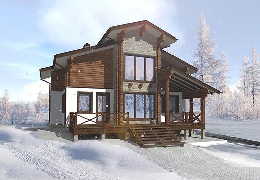 Проект дома, до 200 кв метров, альпийское шале, материал профилированный брус