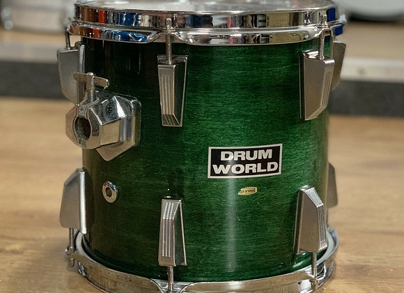 """Drum World 10"""" Natural Green Lacquer Rack Tom Drum #405"""