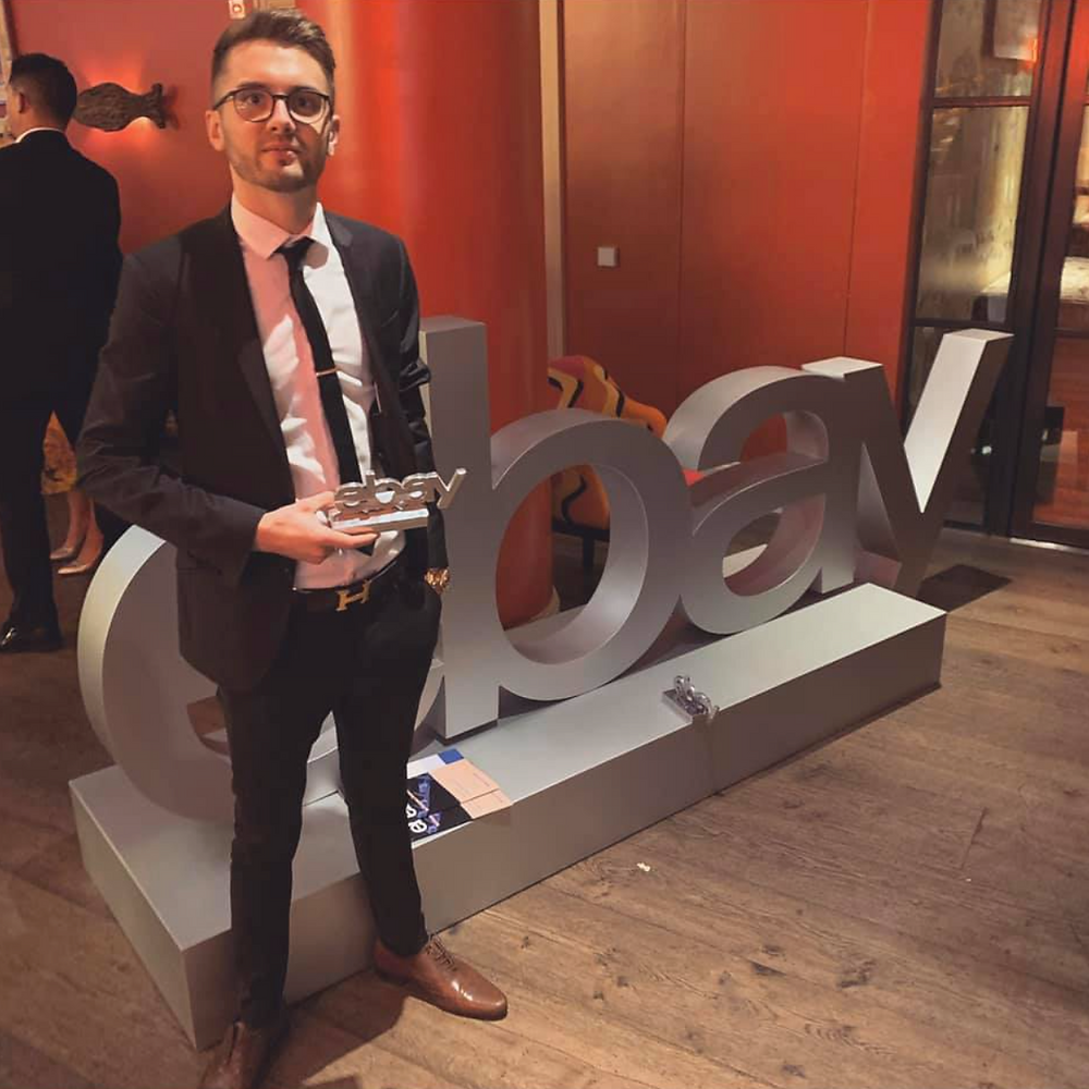 Jake Harris with his award at the business awards in London 2019