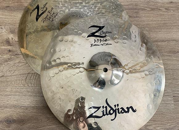 """Zildjian Z Custom 14"""" Dyno Beat Hi Hats Cymbals #410"""
