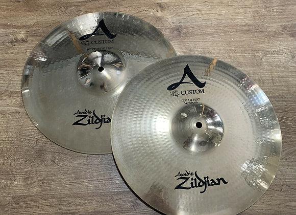"""Zildjian A Custom 14"""" Hi Hat Cymbals #396"""