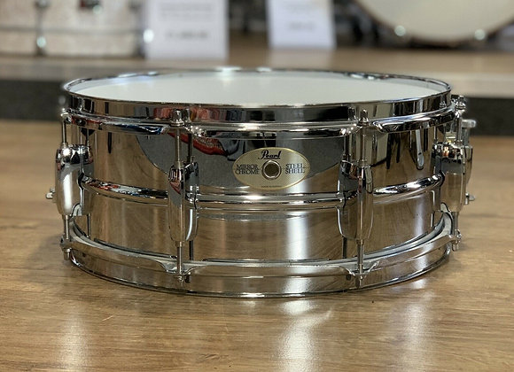 "Pearl 14"" Mirror Chrome Steel Snare Drum #386"