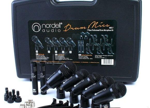 Nordell Drum Microphones Set 7 Piece Mic Kit, 5 Rim Clips + Case