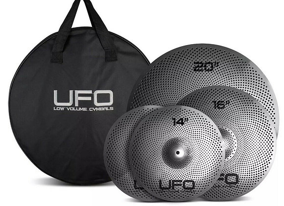 UFO Cymbals Low Volume Quiet Practice Cymbal Set 1 (14/16/20) & Cymbal Bag