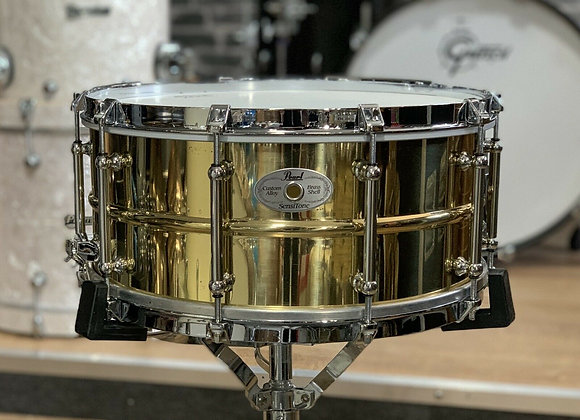"Pearl Sensitone Custom Brass Snare Drum With Vintage Style Hoops 14x6.5"" #426"