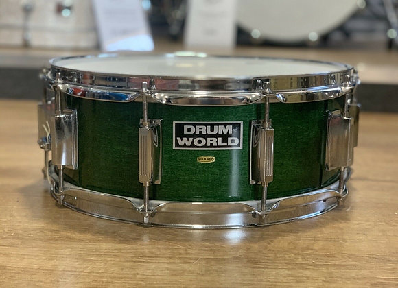 "Drum World 14"" Natural Green Lacquer Snare Drum #405"