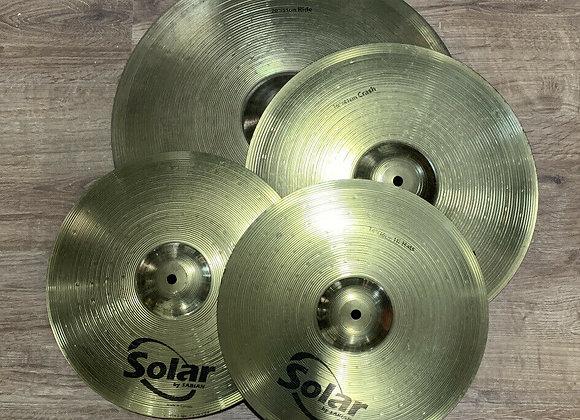 """Set of Sabian Solar Cymbals. 20"""" Ride, 16"""" Crash, 14"""" Hi Hats #421"""