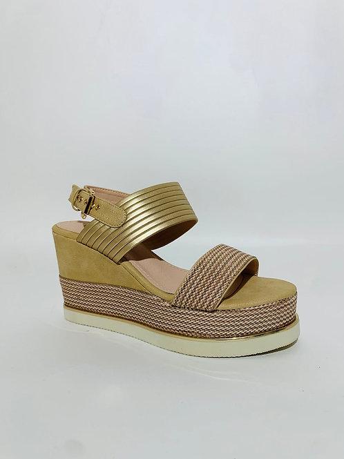 sandales compensées femme dorées