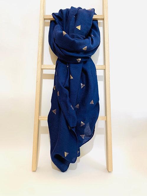 foulard femme bleu marine doré triangle