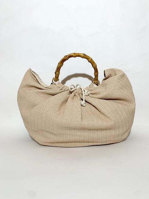 sac à main poignet bambou bois tissu beige plage femme
