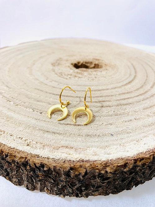 Boucles d'oreilles lune acier inoxydable or bijoux