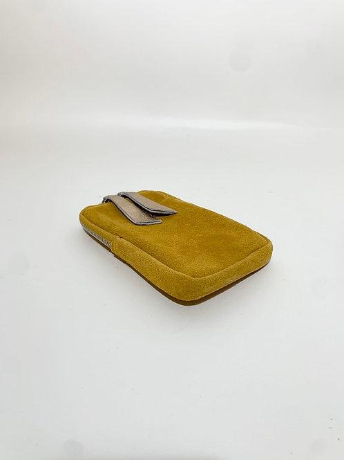 pochette cuir pour téléphone jaune femme