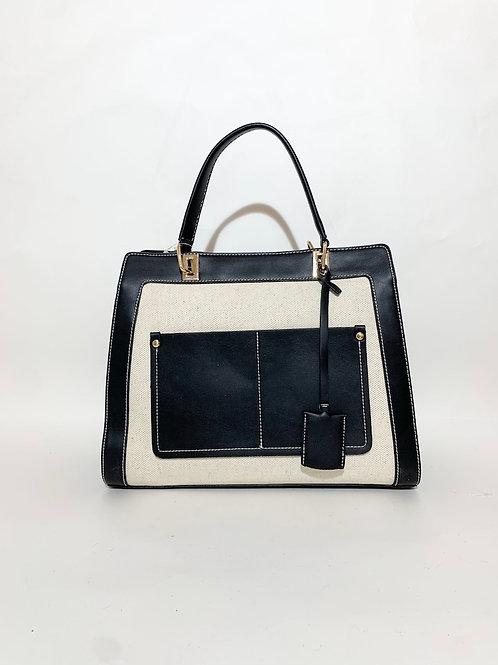 sac à main noir bi color pour femme
