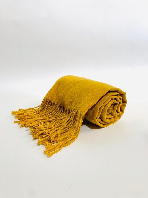 Écharpe femme uni moutarde hiver