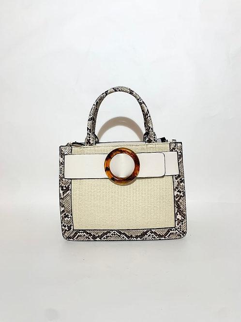sac à main bi matière python beige crème  femme