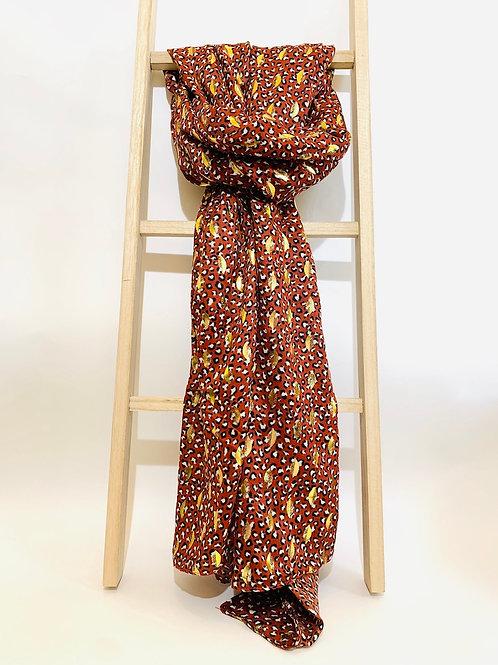 foulard femme brique demi lune doré
