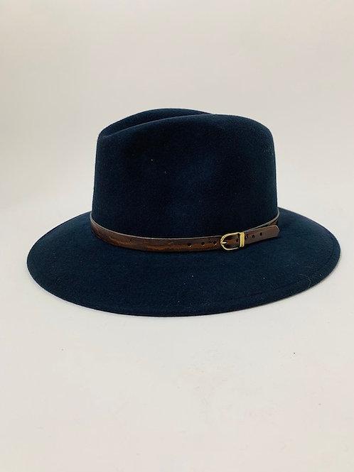 Chapeau feutre laine bleu marine