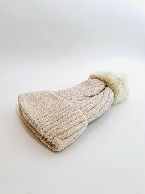 bonnet paillettes crème femme ski hiver