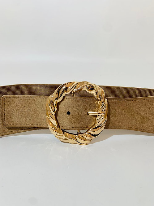 ceinture taupe large femme boucle dorée