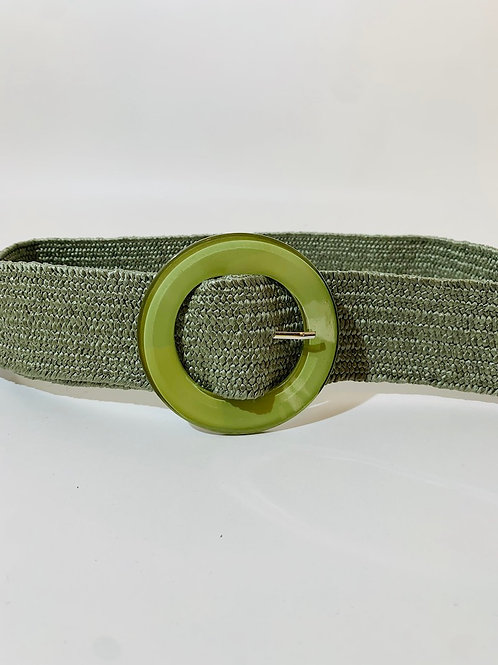 Ceintures élastique tressée boucle ronde vert olive