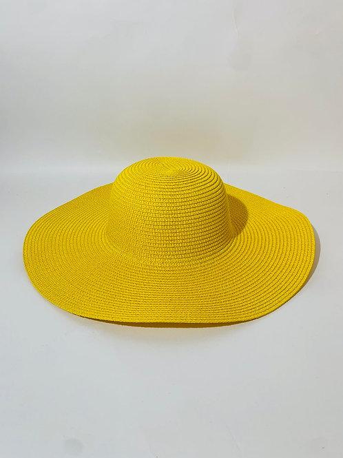 chapeau capeline femme jaune