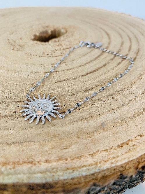 bracelet acier motif soleil bijoux femme argent