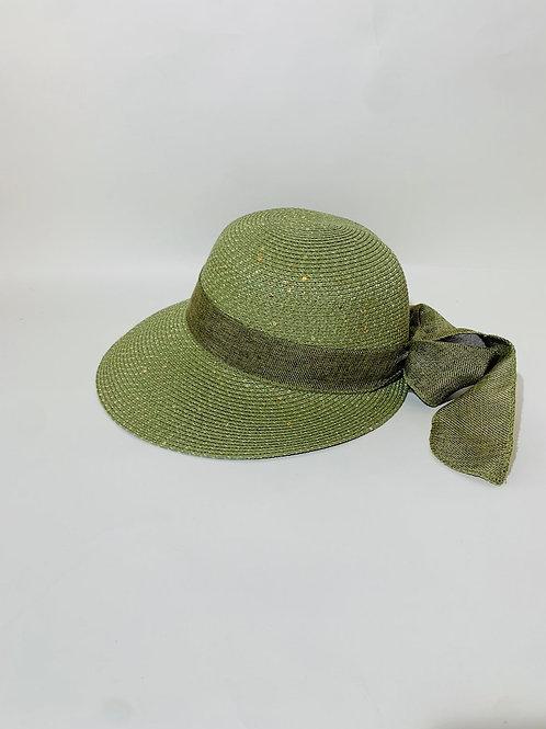 chapeau avec visière et noeud femme été plage vert olive
