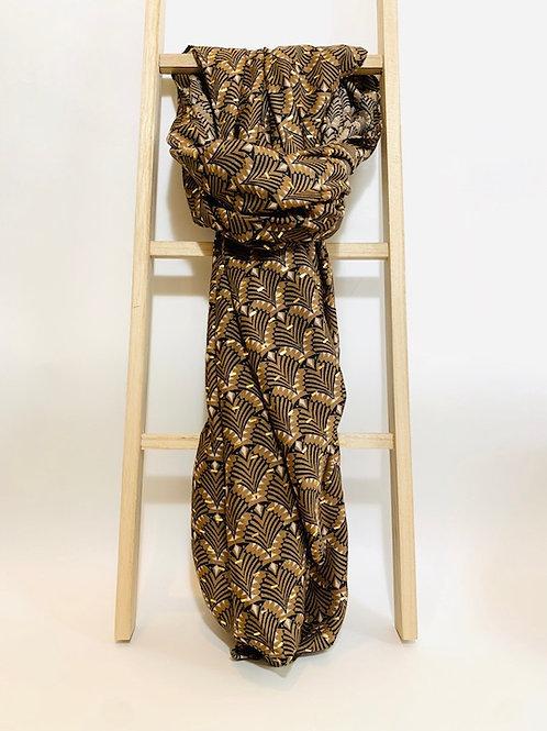 foulard femme motifs dorés marron