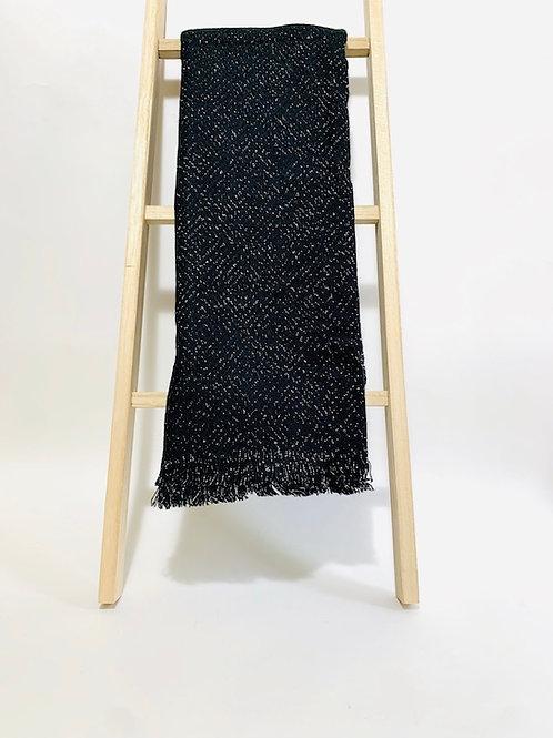 Écharpe brillante noir femme argenté