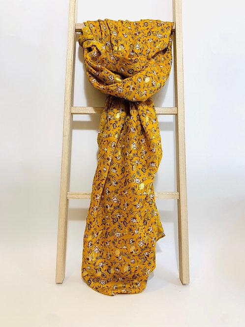 foulard femme fleurs dorés automne hiver moutarde